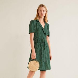 MNG • Green Polka-Dot Midi Bow Dress